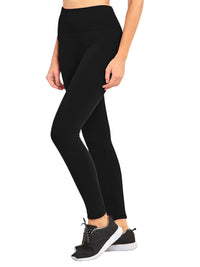 Black Wide Band Fleece Lined Winter Womens Leggings