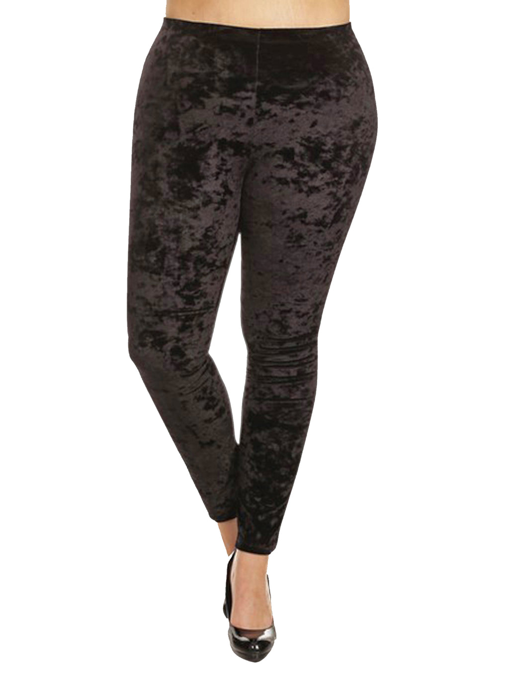 Black Crushed Velvet Plus Size Leggings