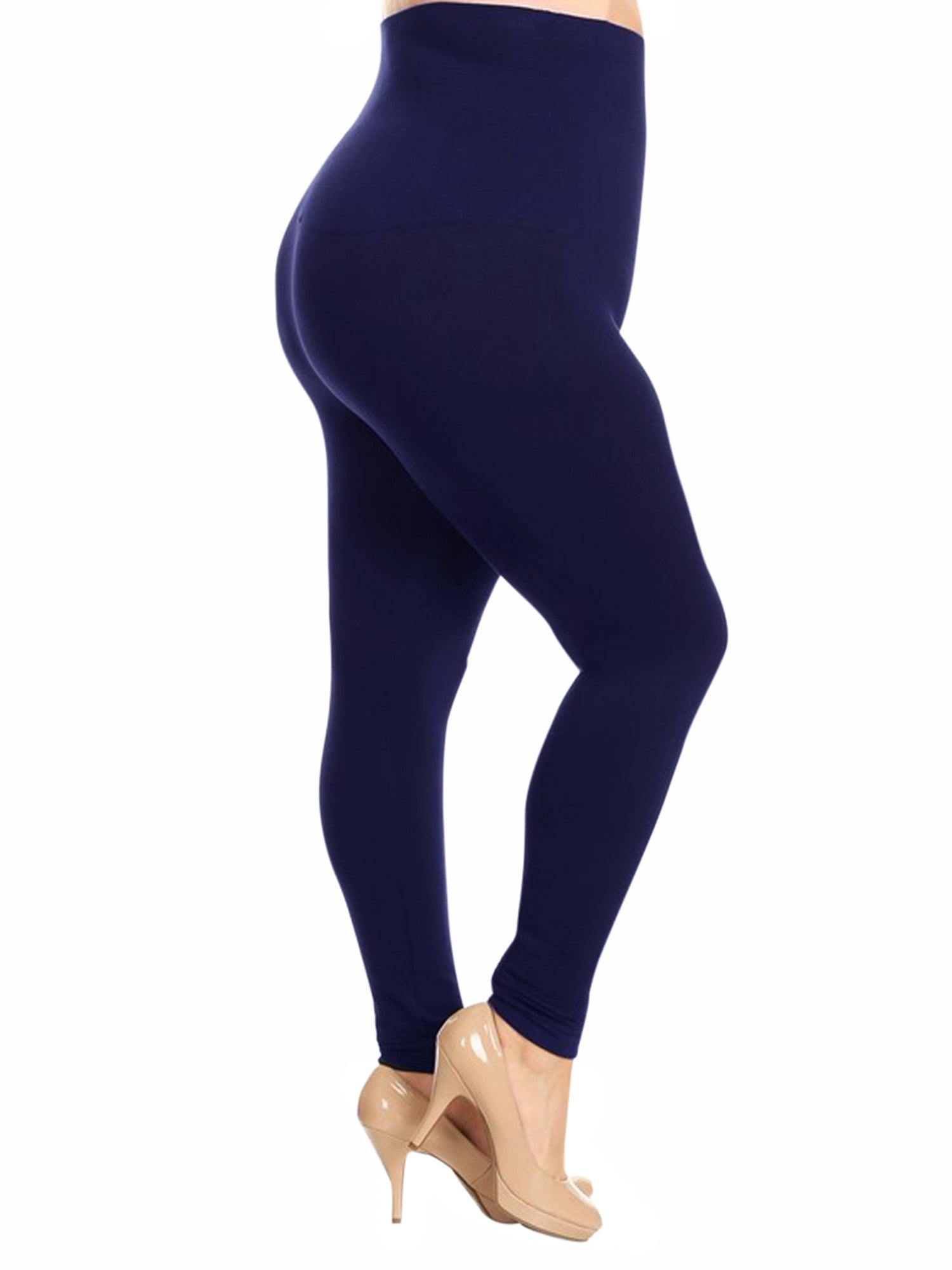 Navy Blue Compression Plus Size Leggings