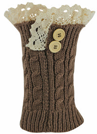 Brown Knit Boot Liner Leg Warmers With Lace Trim