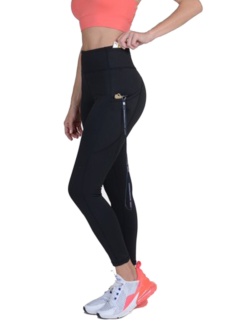 Black High Waist Leggings With Tech Pockets