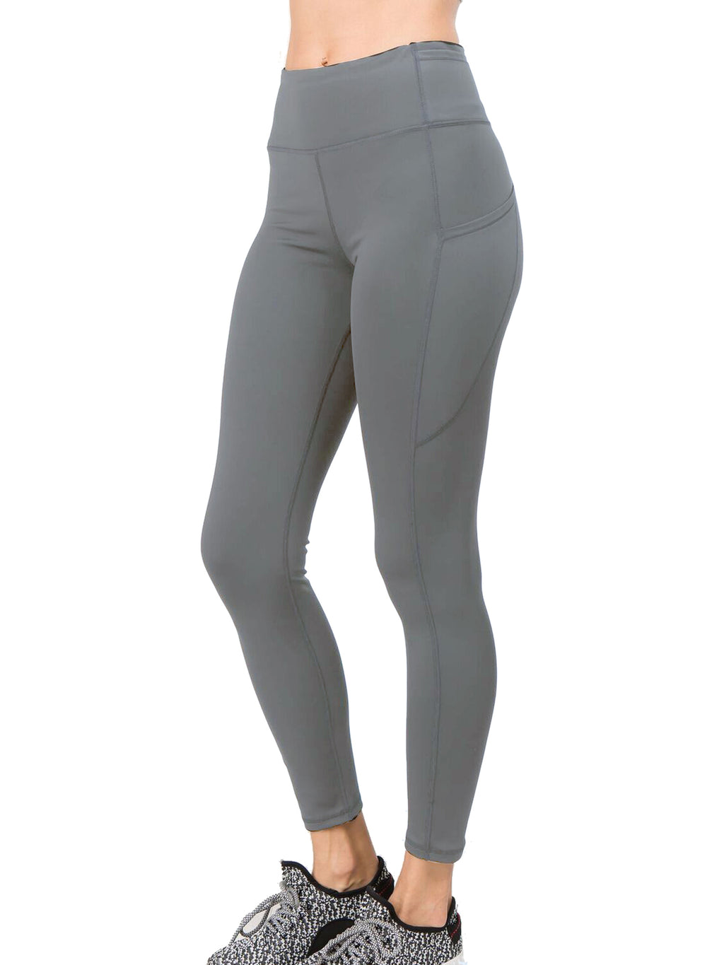 Charcoal Gray High Waist Leggings With Pockets