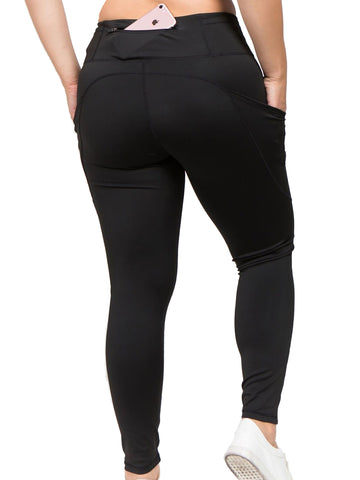 Black Plus Size High Waist Activewear Leggings With Pockets