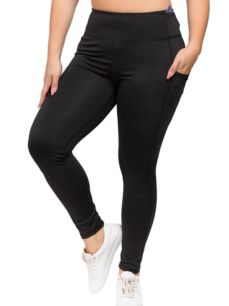 Black Plus Size Activewear Leggings With Pockets