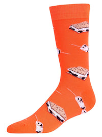Bright Neon Orange Smores Mens Dress Crew Socks