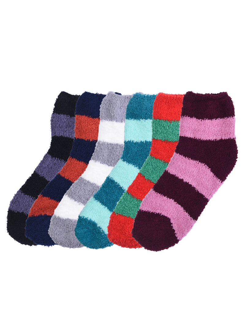 Two-Tone Striped 6 Pack Fuzzy Womens Slipper Socks