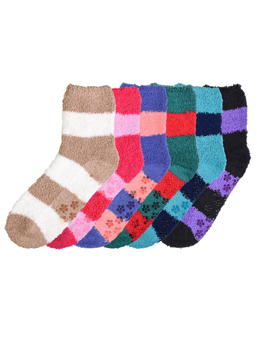 Womens Two-Tone Striped 6 Pack Fuzzy Crew Socks
