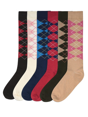 Argyle Plaid Print 6 Pack Womens Knee High Socks