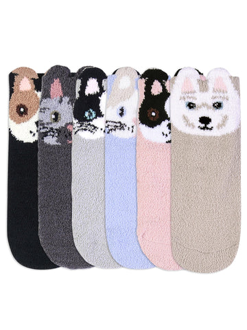 Adorable 6 Pack Animal Face Plush Non-Slip Slipper Socks For Women
