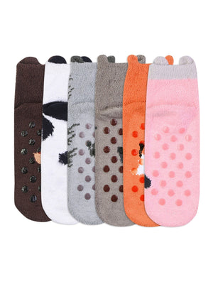 6 Pack Womens Animal Non-Skid Slipper Socks