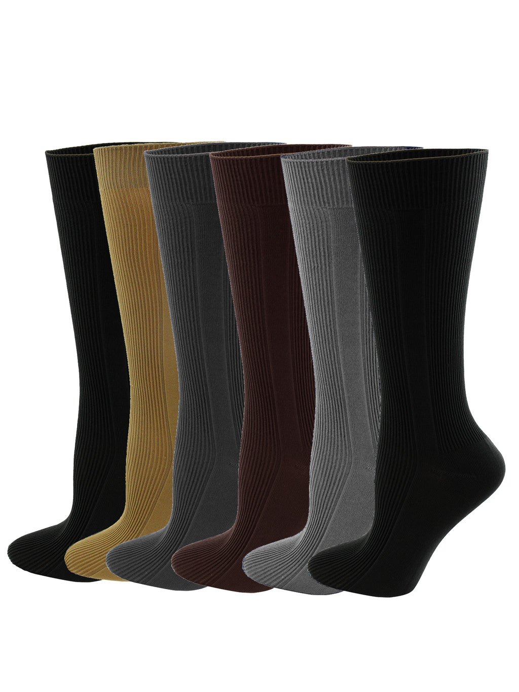 Mens 6 Pack Neutral Thin Dress Socks
