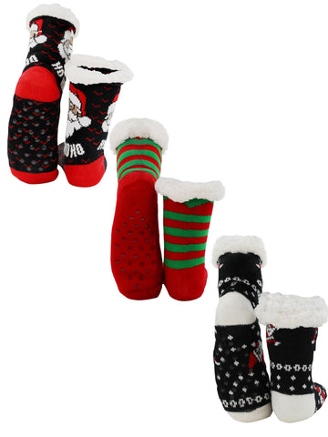 Christmas Holiday Reindeer and Santas Faux Sherpa Slipper Socks For Women
