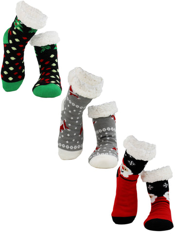 Holiday Christmas Tree and Santas Faux Sherpa Slipper Socks For Women