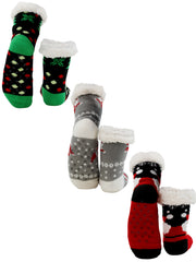 Holiday Christmas Tree And Santas Slipper Socks