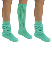 Seafoam Green Cotton 3 Pack Heavy Slouch Socks