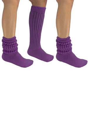 Purple All Cotton 3 Pack Heavy Super Slouch Socks