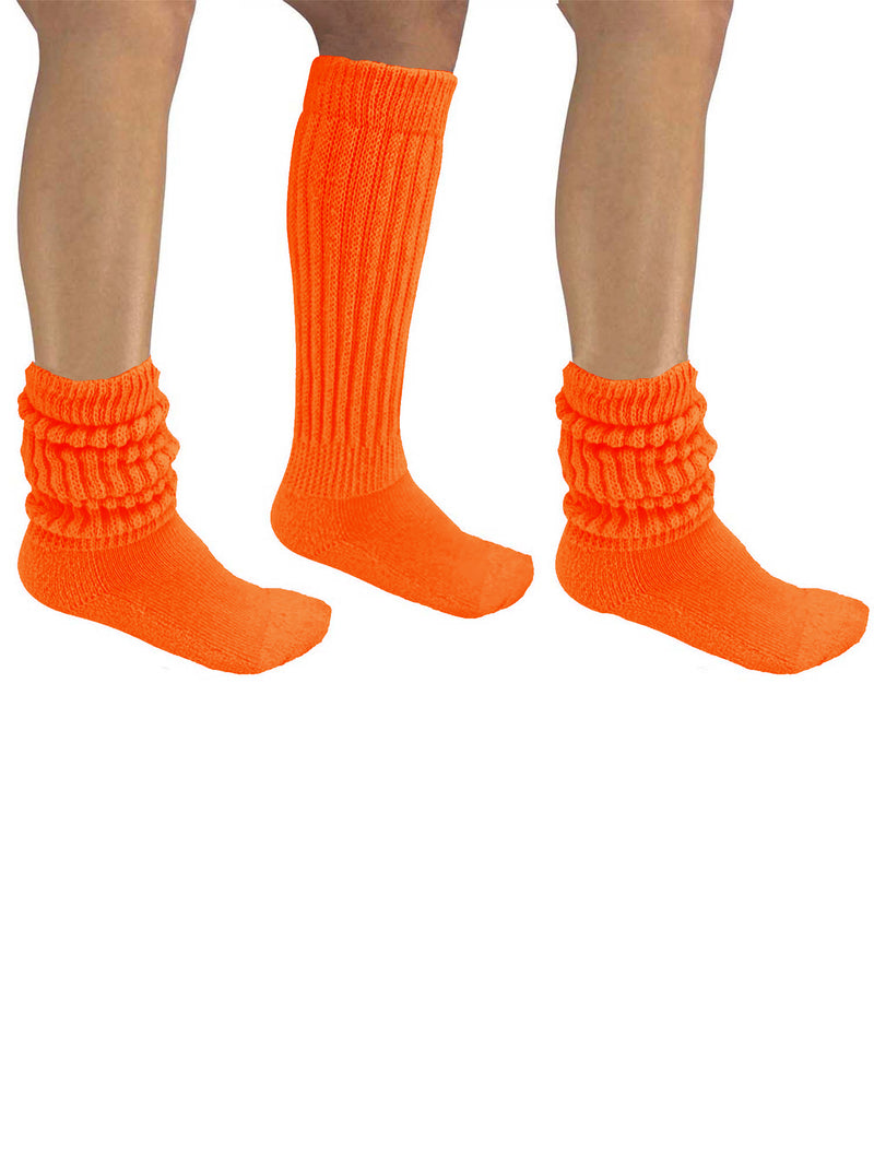 Orange All Cotton 3 Pack Heavy Super Slouch Socks