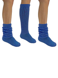Royal Blue All Cotton 3 Pack Heavy Slouch Socks