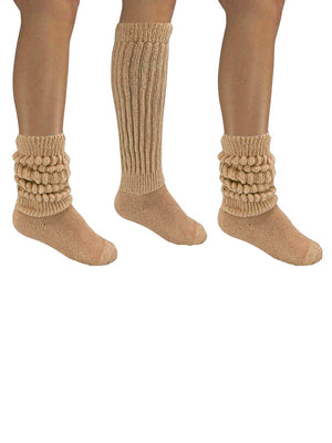 Nude Beige All Cotton 3 Pack Heavy Slouch Socks