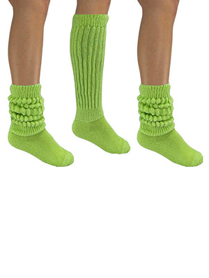 Lime Green All Cotton 3 Pack Heavy Slouch Socks
