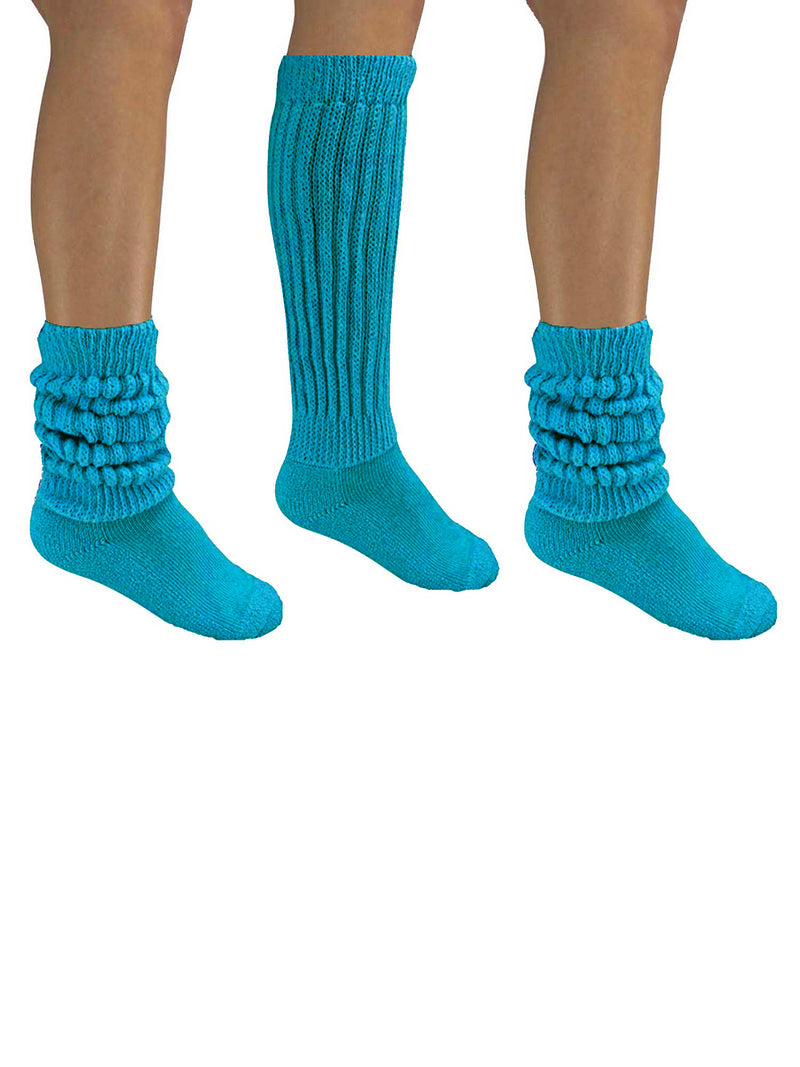 Turquoise All Cotton 3 Pack Heavy Slouch Socks