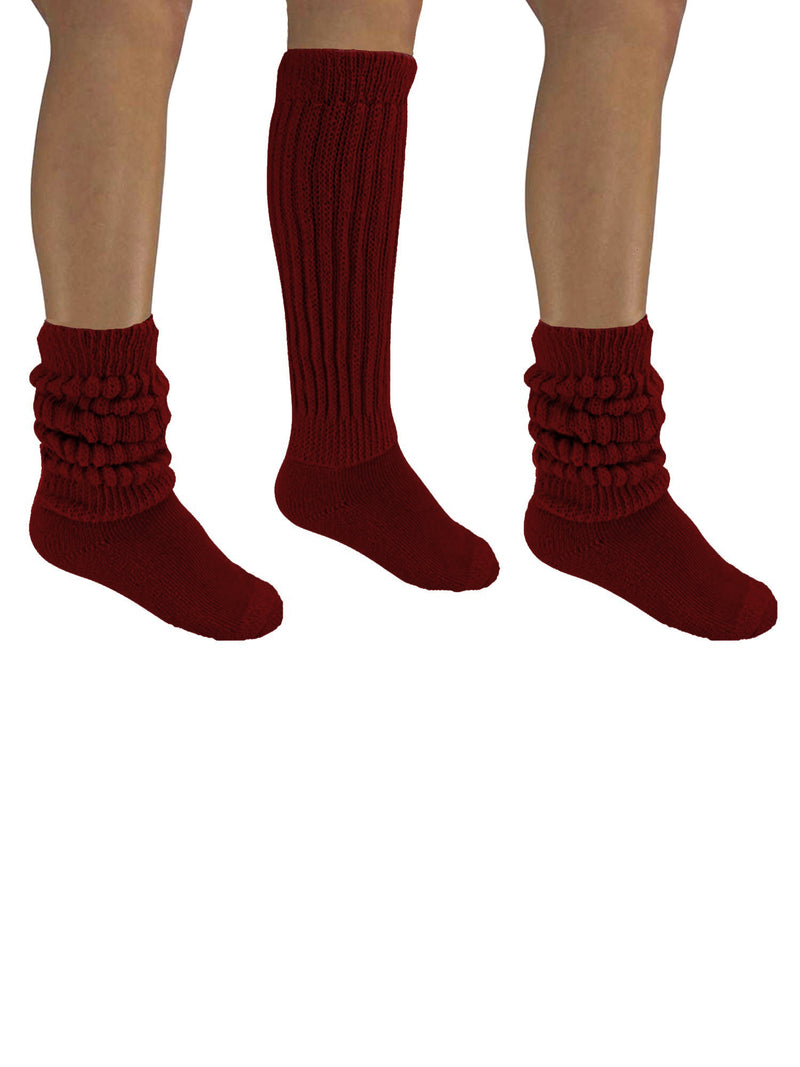 Burgundy All Cotton 3 Pack Heavy Slouch Socks
