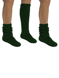 Hunter Green All Cotton 3 Pack Heavy Slouch Socks