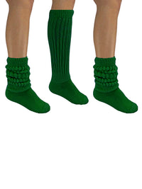 Kelly Green All Cotton 3 Pack Heavy Slouch Socks