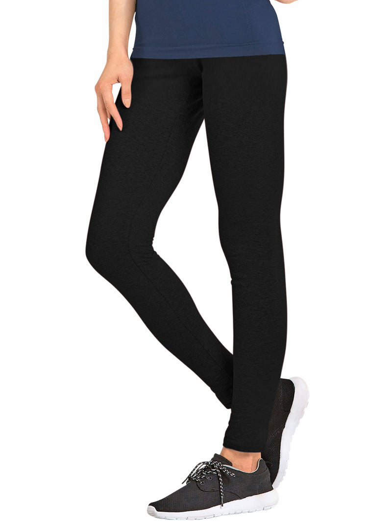 Womens Basic Black Full Length Cotton Leggings