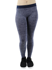 Navy Blue Womens Heathery Exercise Leggings Pants
