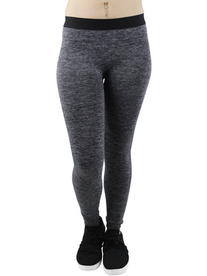 Black Womens Heathery Exercise Leggings Pants
