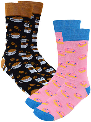 Coffee & Doughnuts 2 Pack Mens Dress Crew Socks