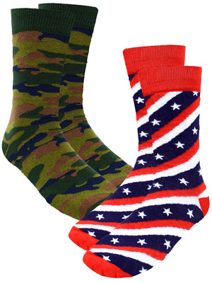 Patriotic Flag Camo Usa 2 Pack Mens Crew Socks