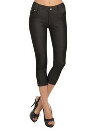 Black 5-Pocket Capri Jeggings