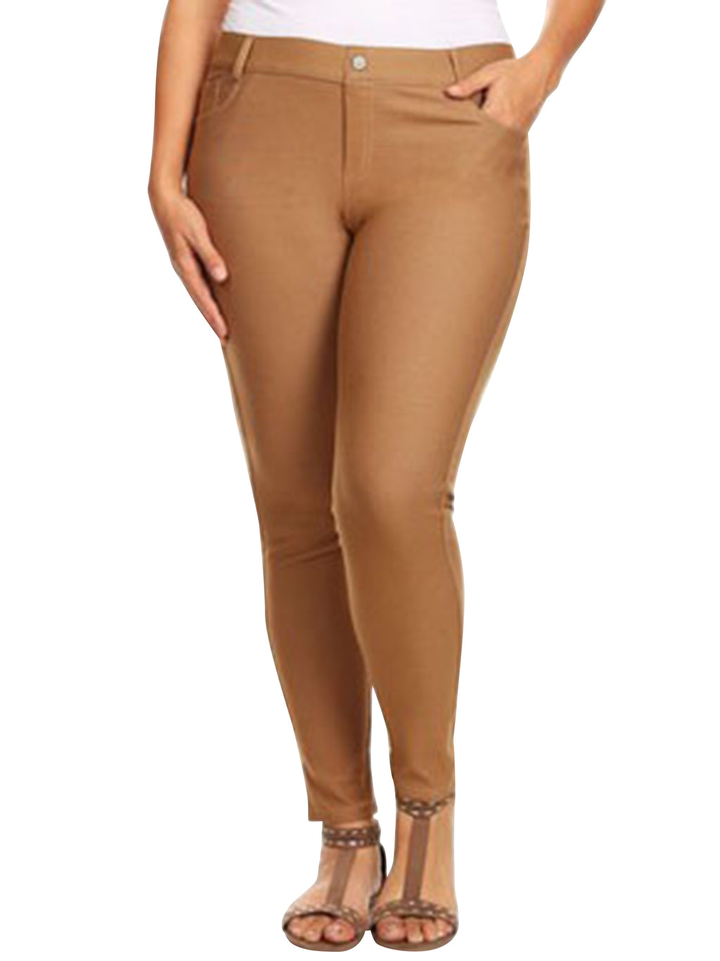 Plus Size Khaki 5-Pocket Jeggings