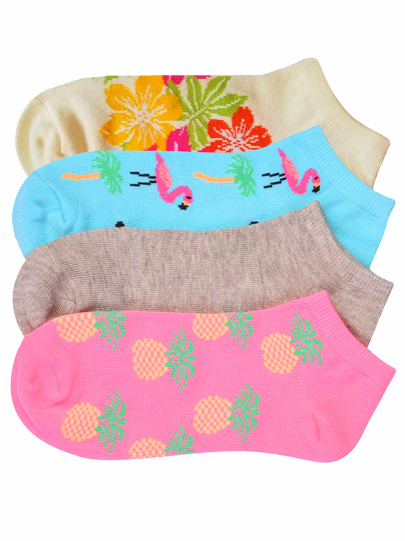 Tropical Flamingos Pineapple Floral 4-Pack Socks