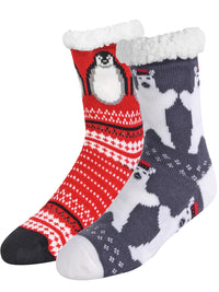Polar Bear & Penguin 2-Pack Slipper Socks
