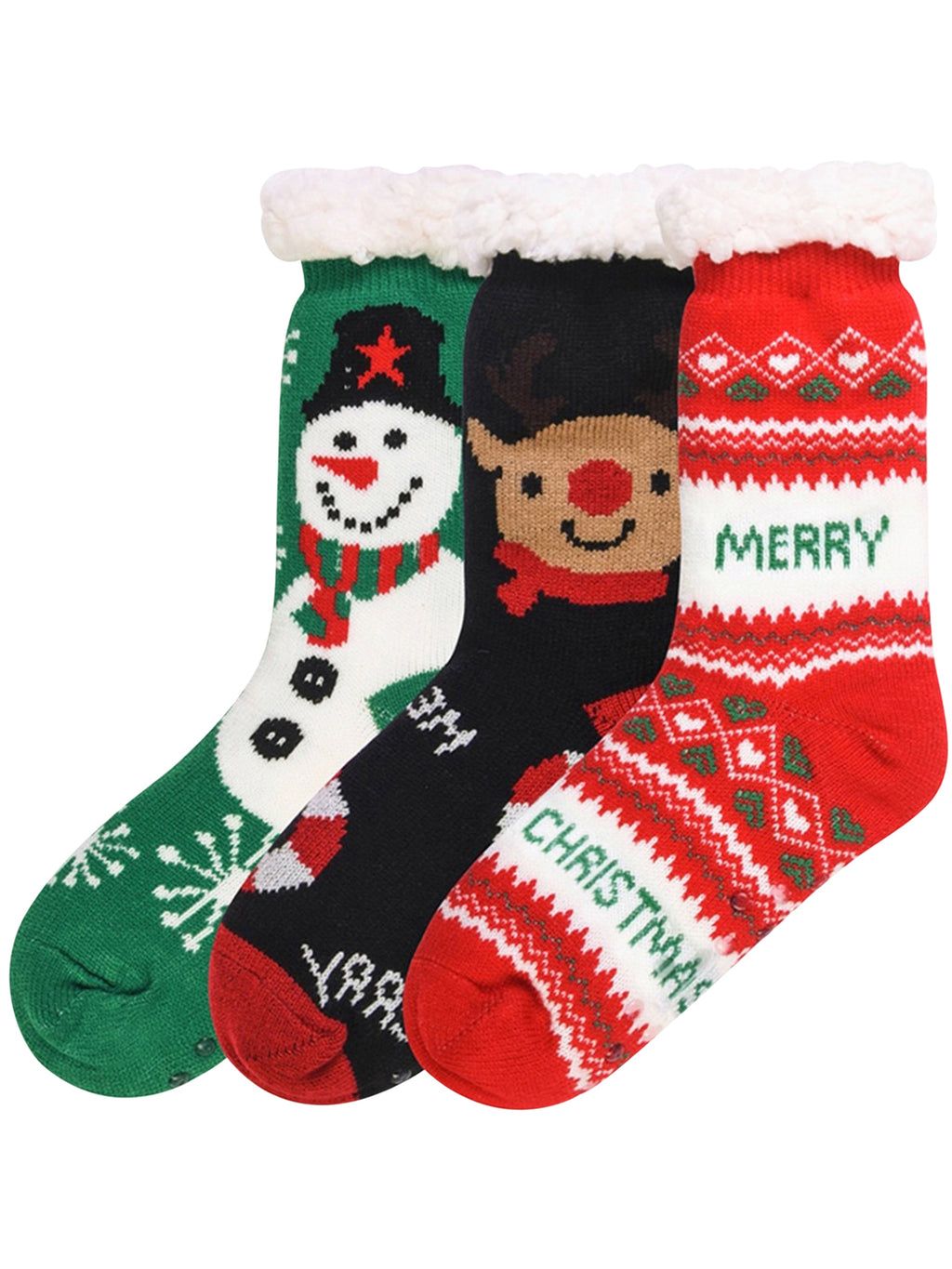 Red Green Black Non-Skid 3-Pack Slipper Socks