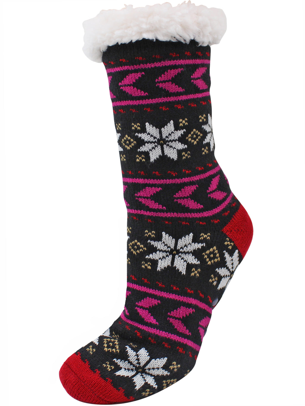 Gray & Red Snowflake 2-Pack Slipper Socks