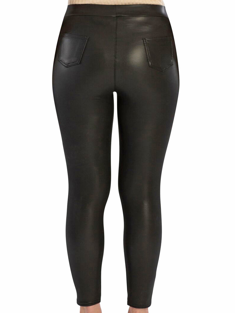 Black Vegan Leather Leggings With Pockets
