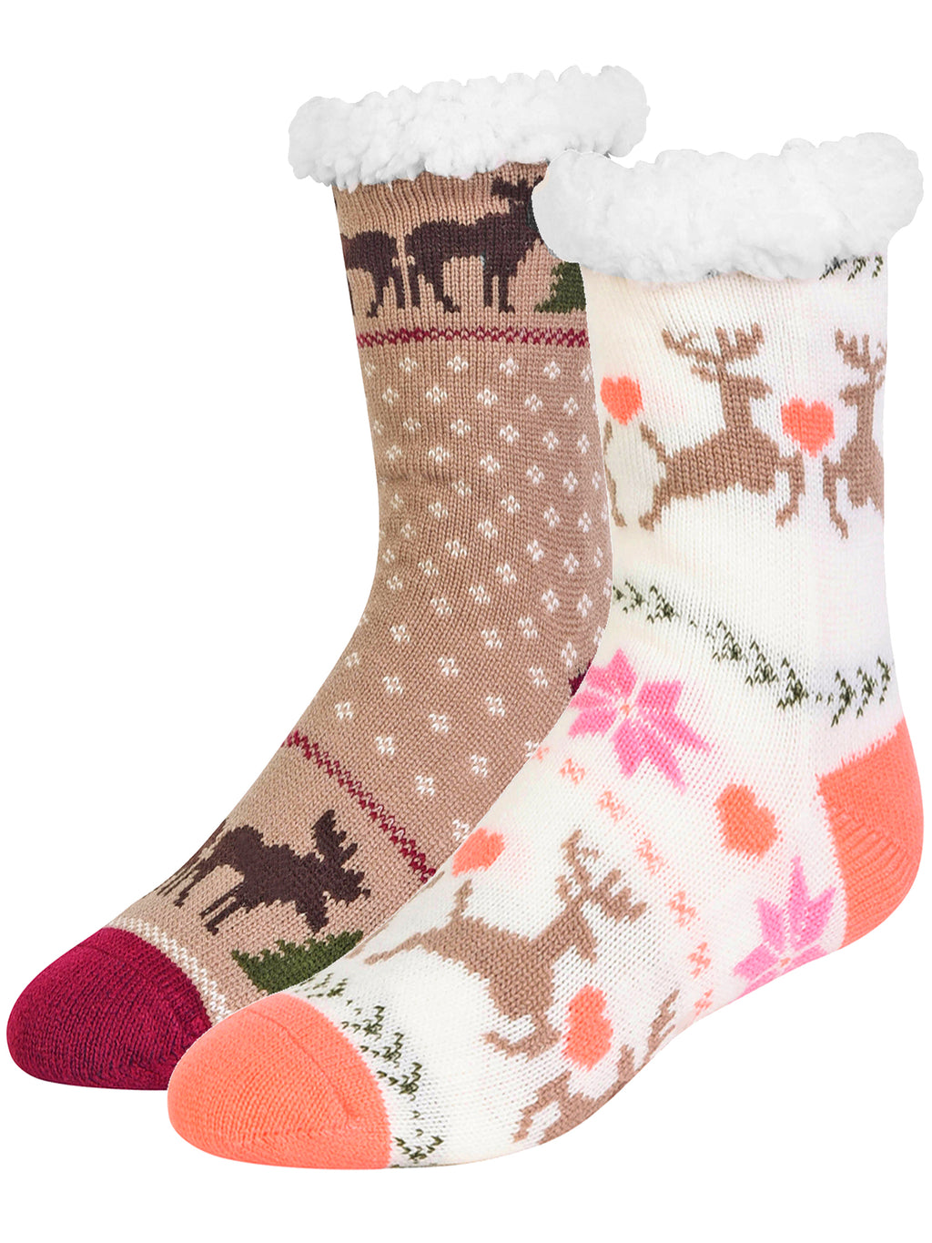 Deer & Moose Winter 2-Pack Slipper Socks