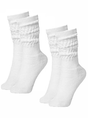 White All Cotton 2-Pack Slouch Socks