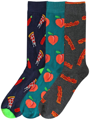 Mens 3-Pack Pizza Bacon Peaches Socks