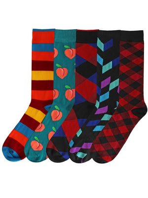 Mens Crazy 5-Pack Dress Socks