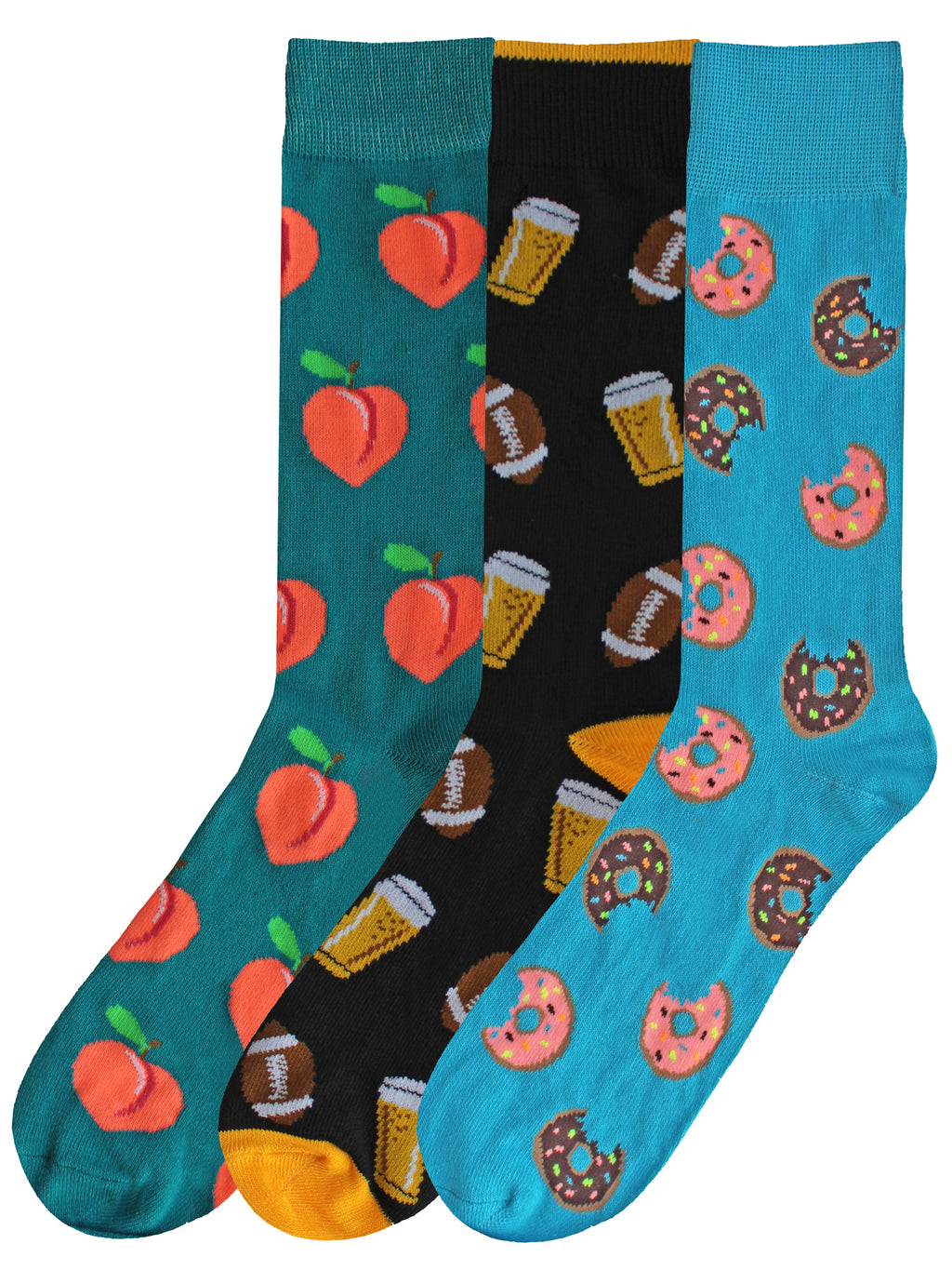 Doughnuts Football Pizza Mens 3-Pack Dress Socks