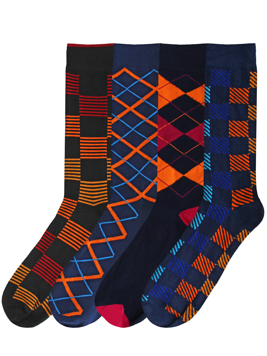 Sock Game Mens Argyle & Checker 4-Pack Dress Socks
