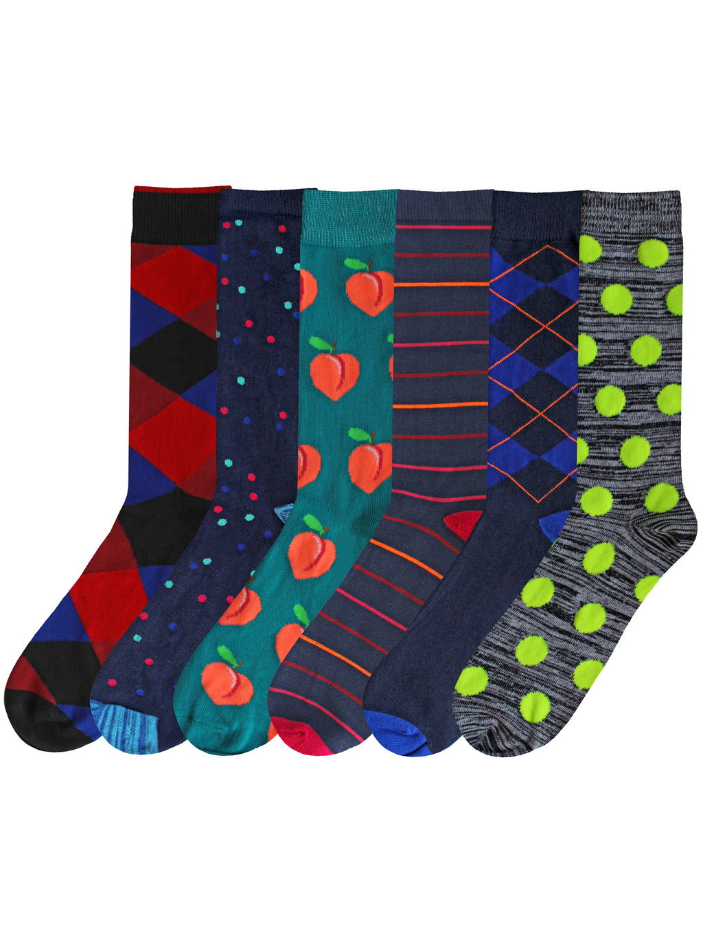 Printed Mens 6-Pack Dress Socks