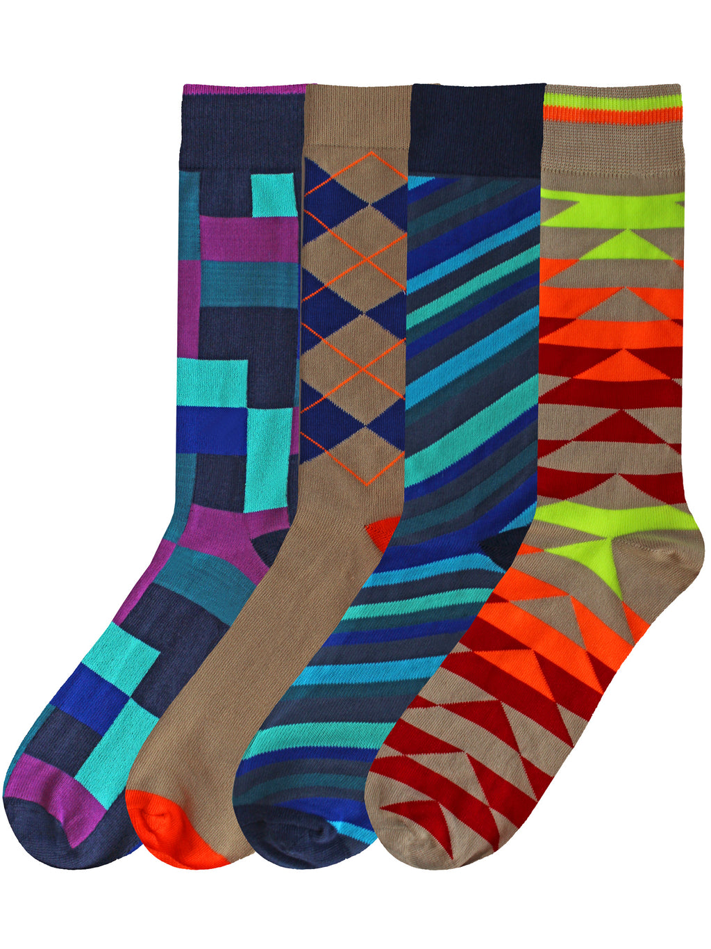 Mens Colorful 4-Pack Dress Socks