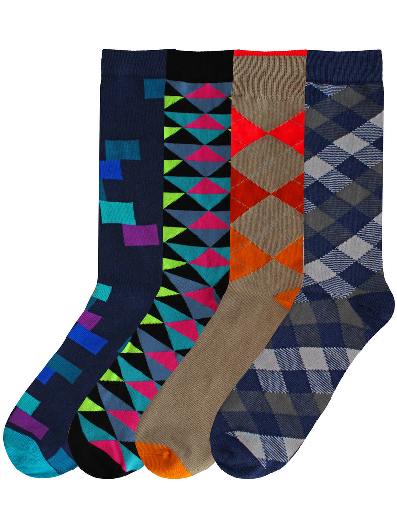 Geometric & Argyle Colorful Mens 4-Pack Socks