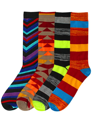 Funky Game 4-Pack Mens Dress Socks